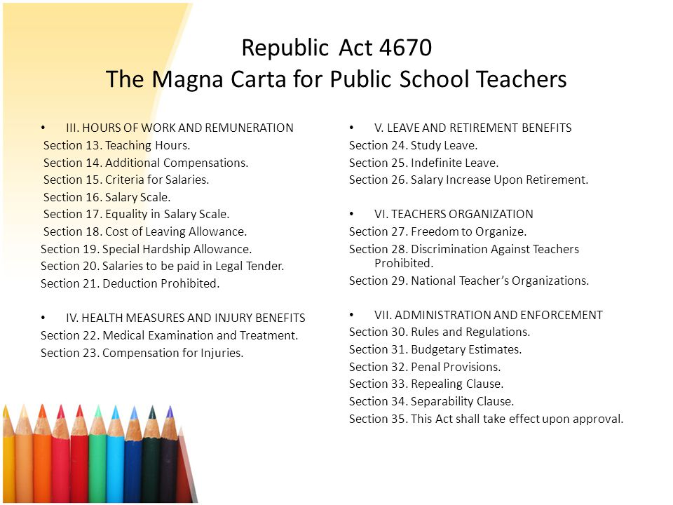 Republic Act 4670 The Magna Carta for Public School Teachers
