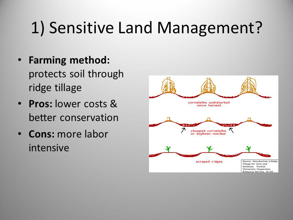 1) Sensitive Land Management