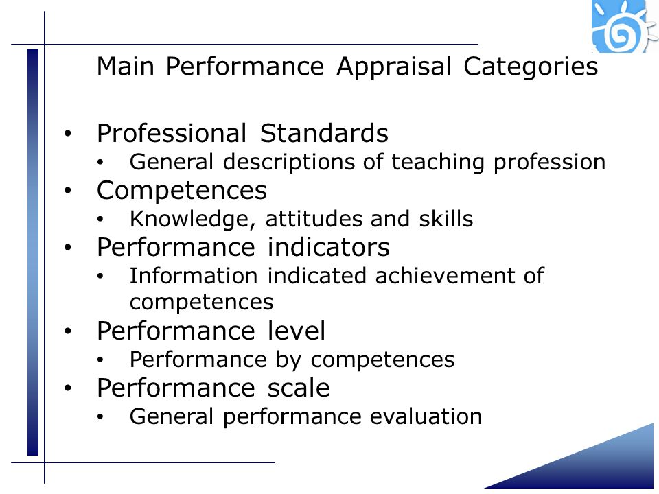 Main Performance Appraisal Categories
