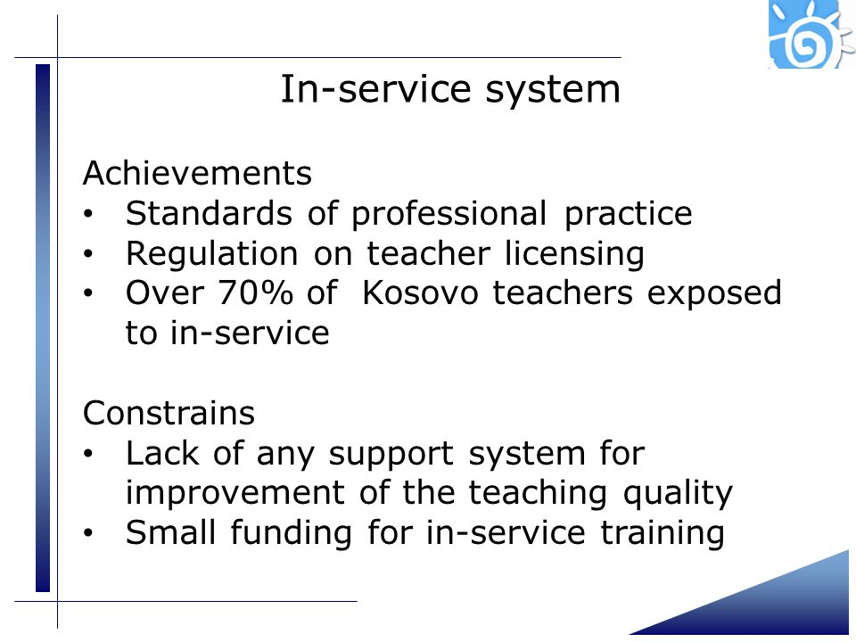 In-service system Achievements Standards of professional practice