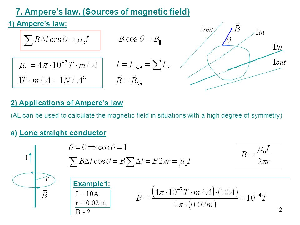7. Ampere's law. (Sources of magnetic field)