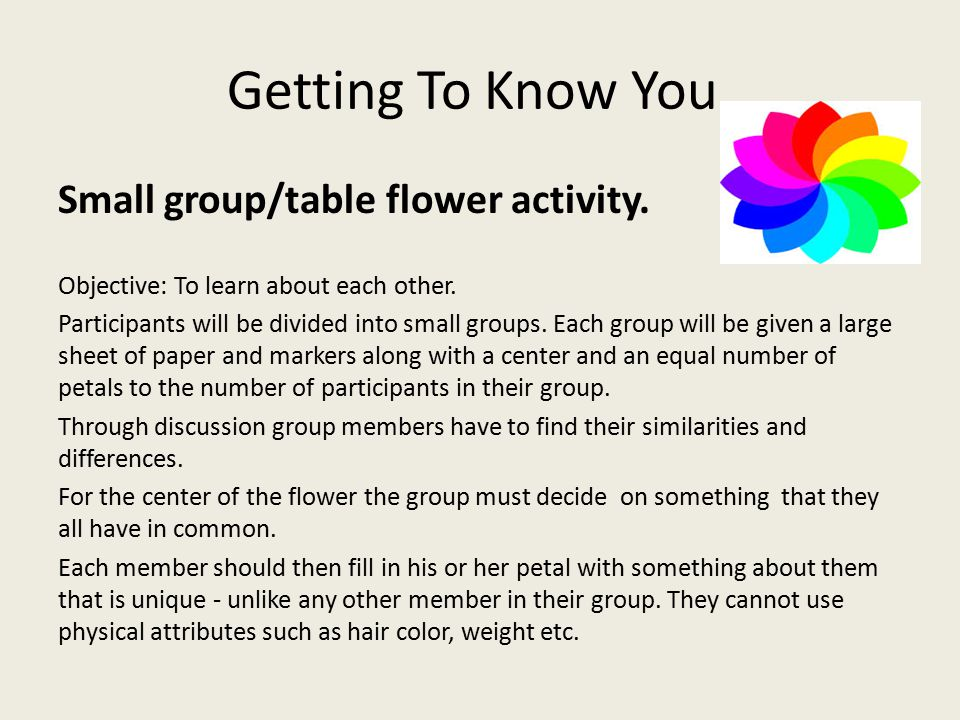 Getting To Know You. Small group/table flower activity.
