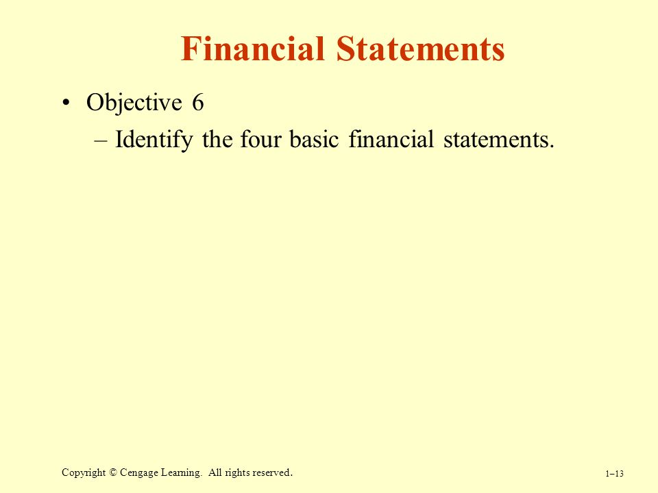 Financial Statements Objective 6