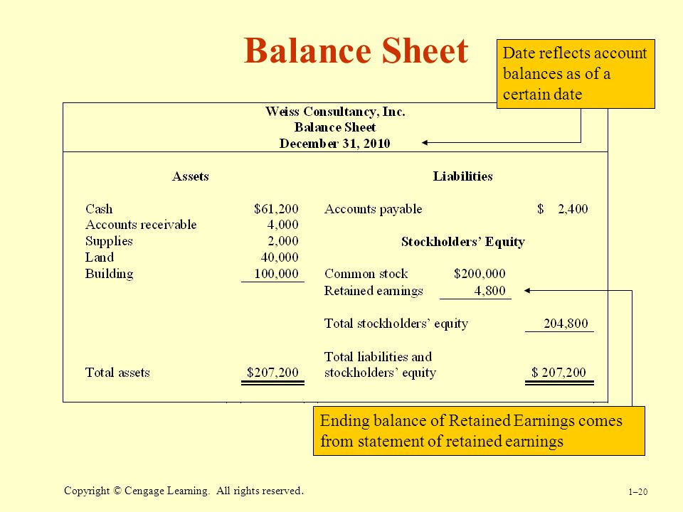 Balance Sheet Date reflects account balances as of a certain date