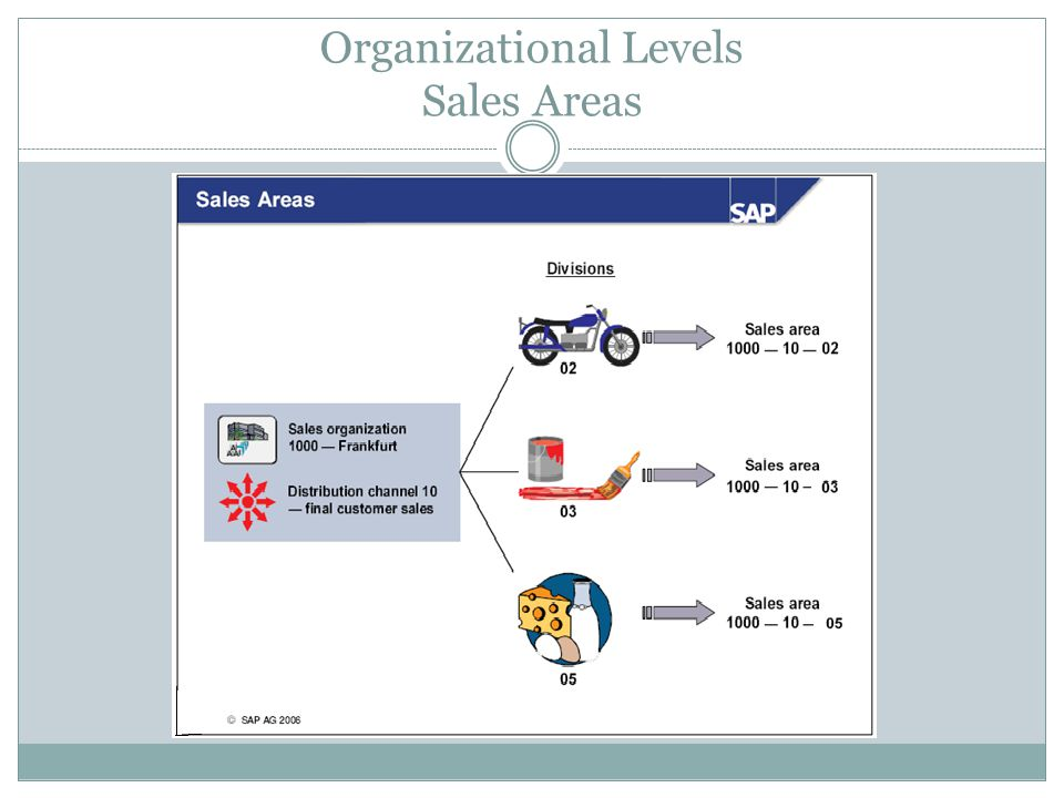 Organizational Levels Sales Areas