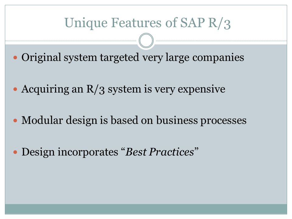 Unique Features of SAP R/3