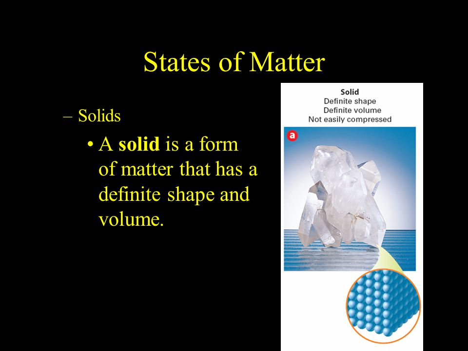 2.1 States of Matter. Solids. A solid is a form of matter that has a definite shape and volume.