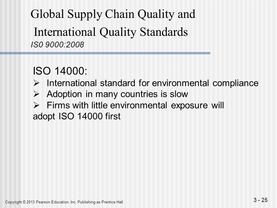 Global Supply Chain Quality and International Quality Standards