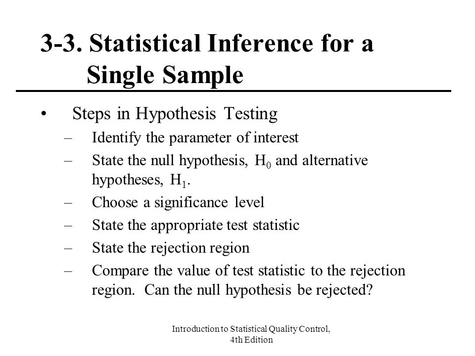 3-3. Statistical Inference for a Single Sample