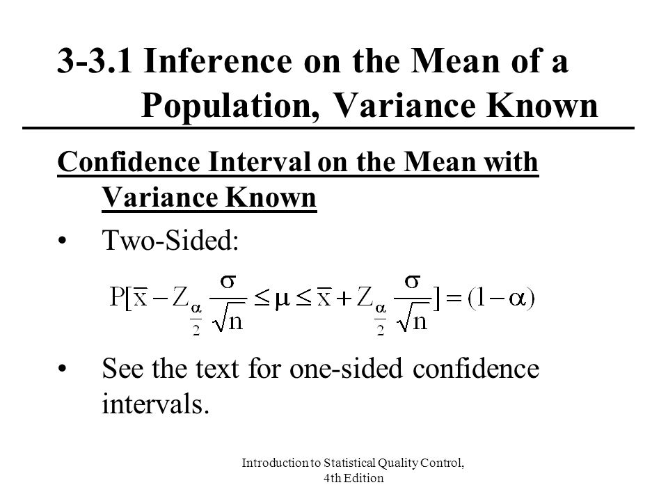 3-3.1 Inference on the Mean of a Population, Variance Known