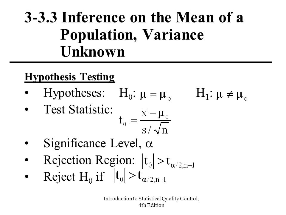 3-3.3 Inference on the Mean of a Population, Variance Unknown