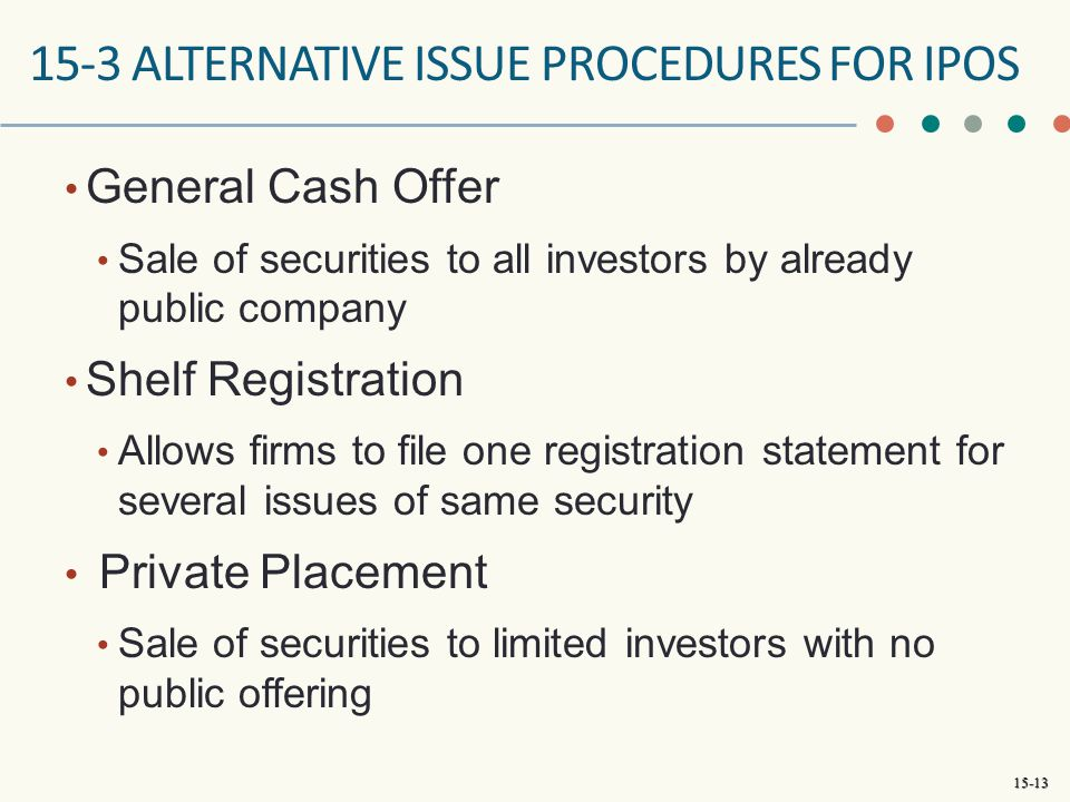 15-3 ALTERNATIVE ISSUe PROCEDURES FOR IPOs