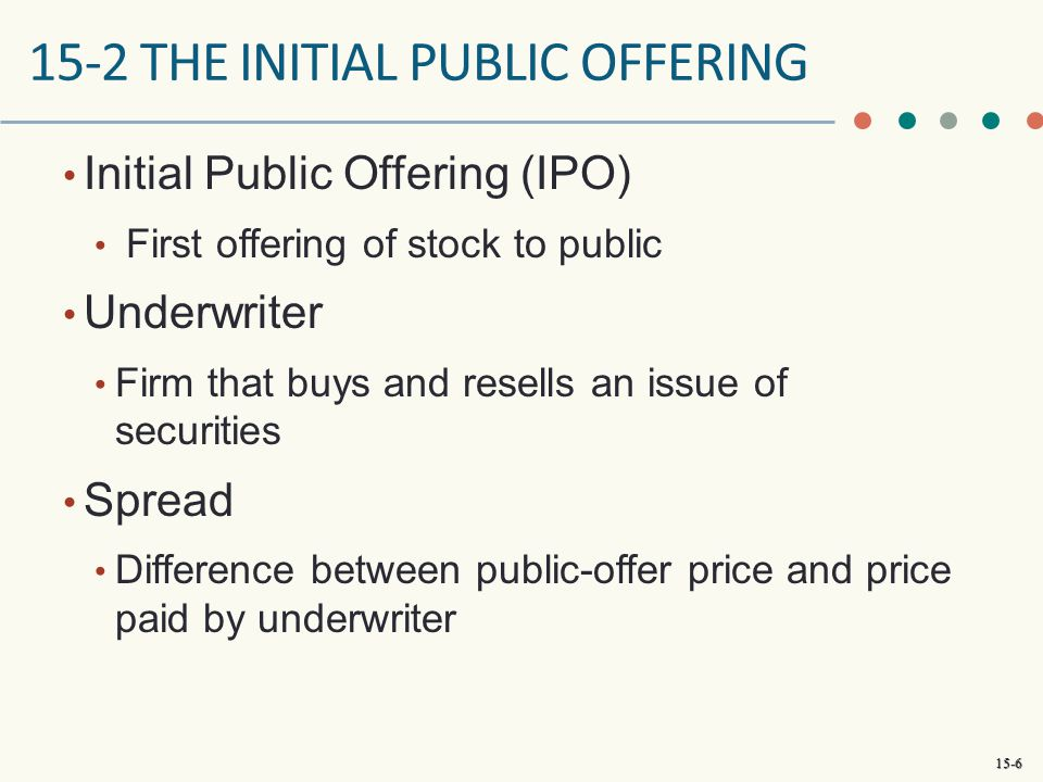 15-2 THE INITIAL PUBLIC OFFERING