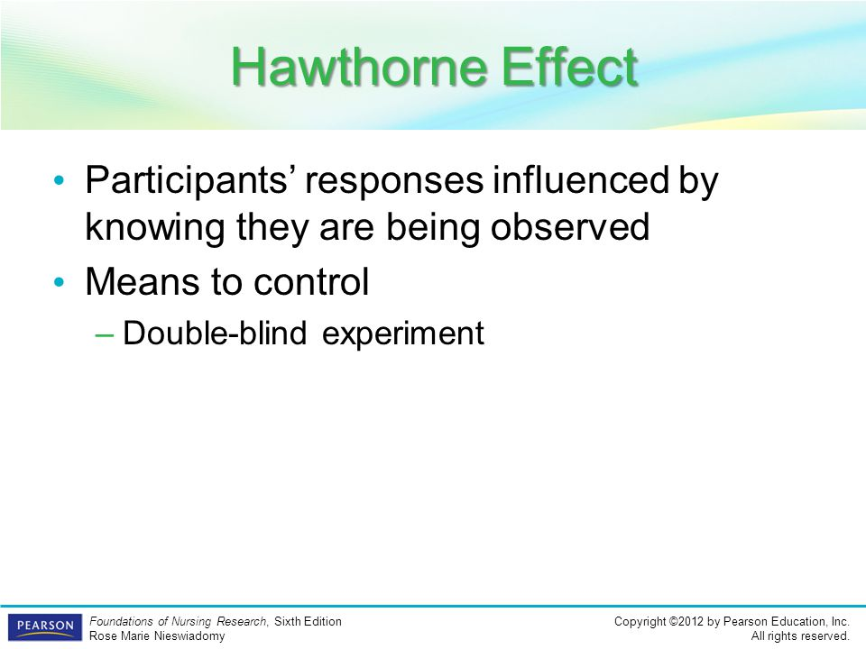 Hawthorne Effect Participants' responses influenced by knowing they are being observed. Means to control.