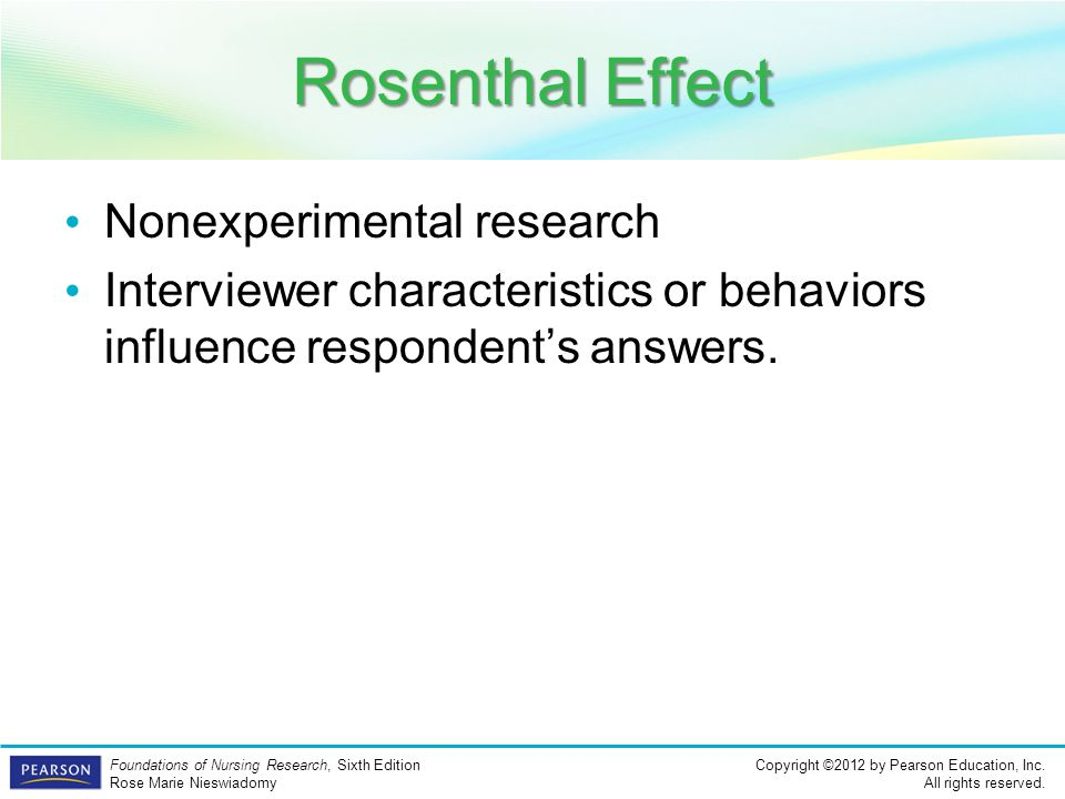 Rosenthal Effect Nonexperimental research