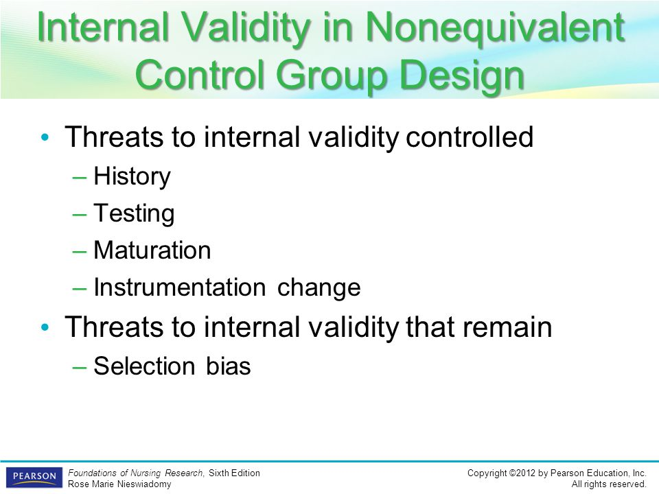 Internal Validity in Nonequivalent Control Group Design