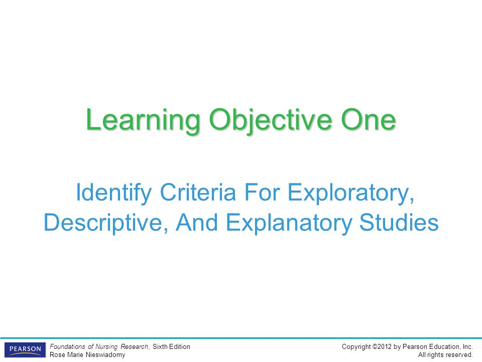 Learning Objective One Identify Criteria For Exploratory, Descriptive, And Explanatory Studies