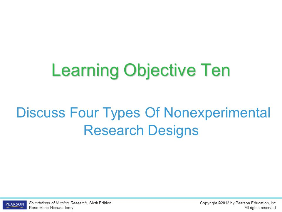 Learning Objective Ten Discuss Four Types Of Nonexperimental Research Designs