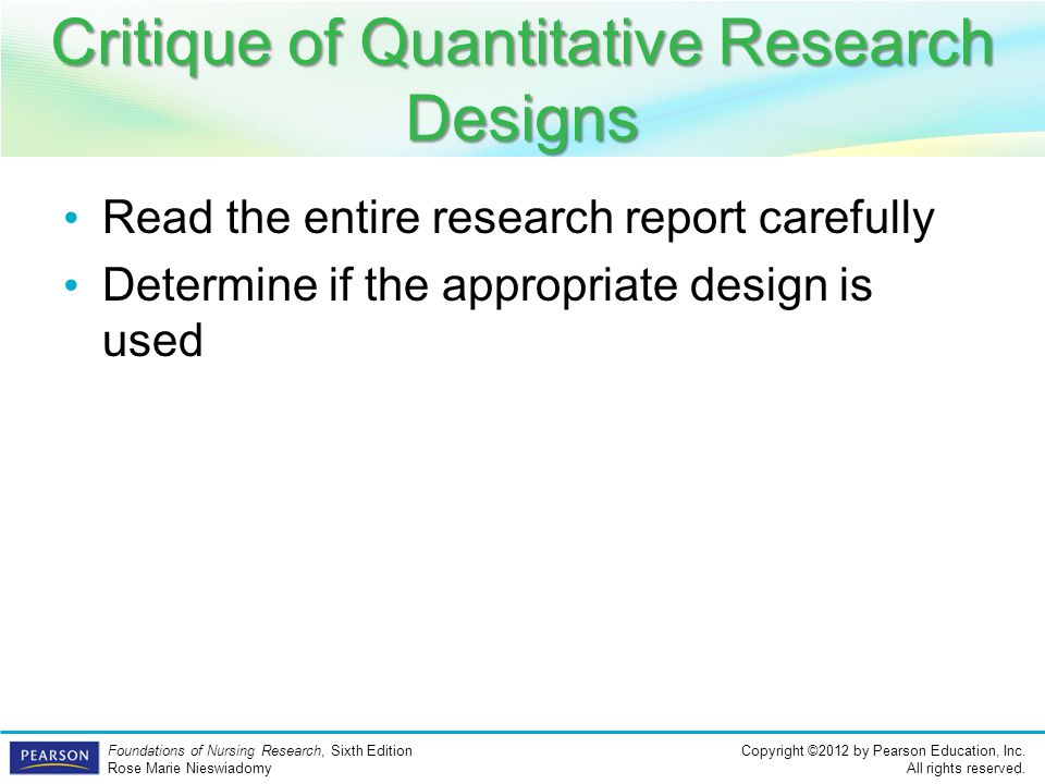 Critique of Quantitative Research Designs