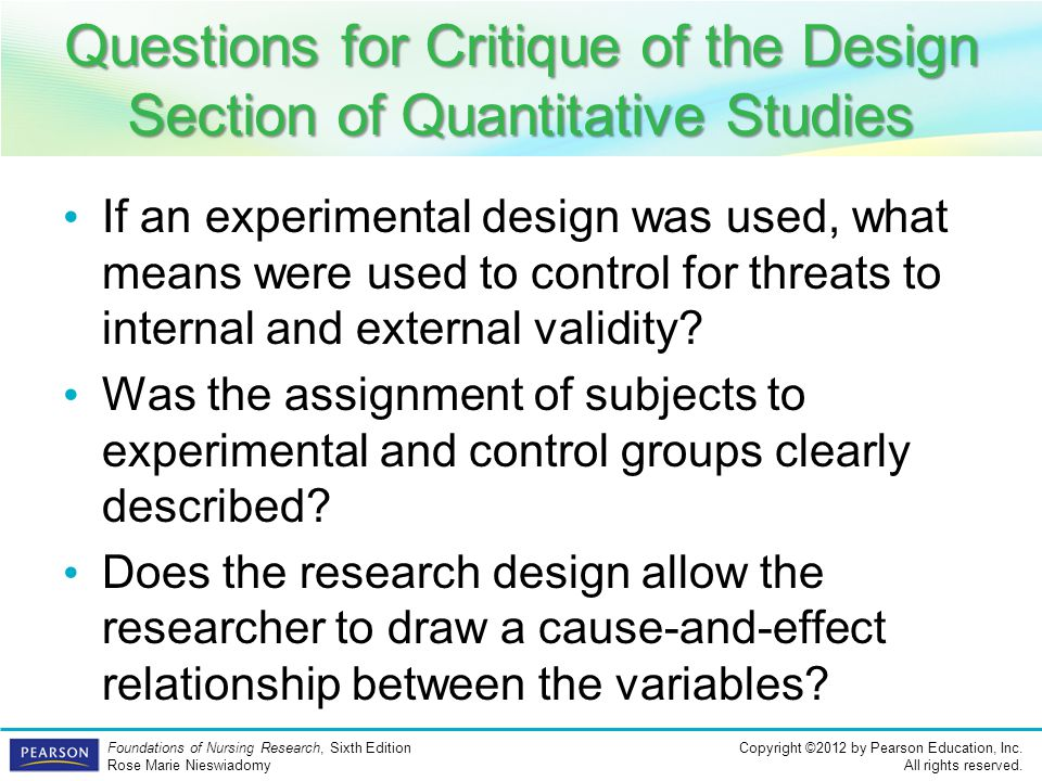 Questions for Critique of the Design Section of Quantitative Studies