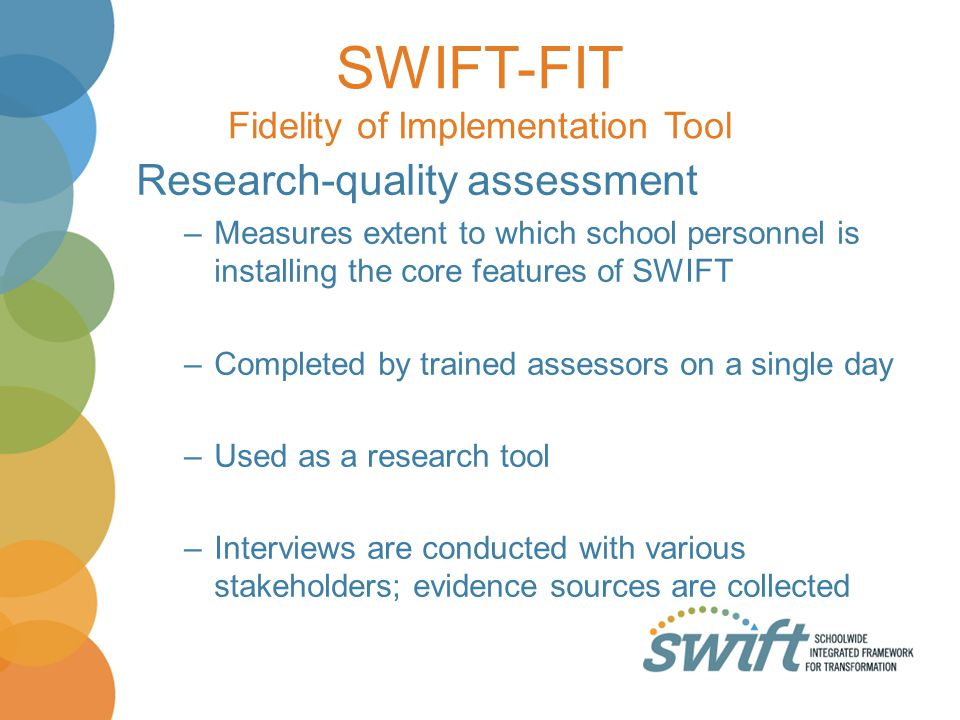 SWIFT-FIT Fidelity of Implementation Tool