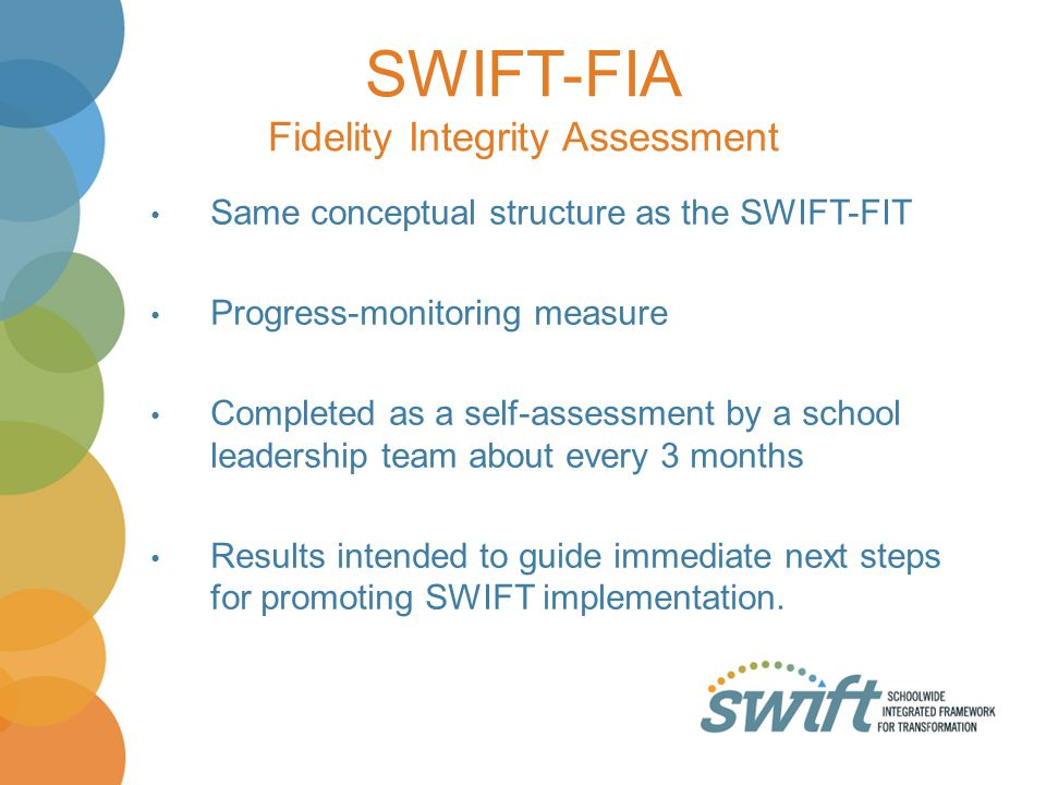 SWIFT-FIA Fidelity Integrity Assessment