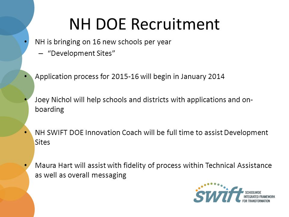 NH DOE Recruitment NH is bringing on 16 new schools per year