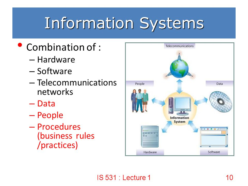 Information Systems Combination of : Hardware Software