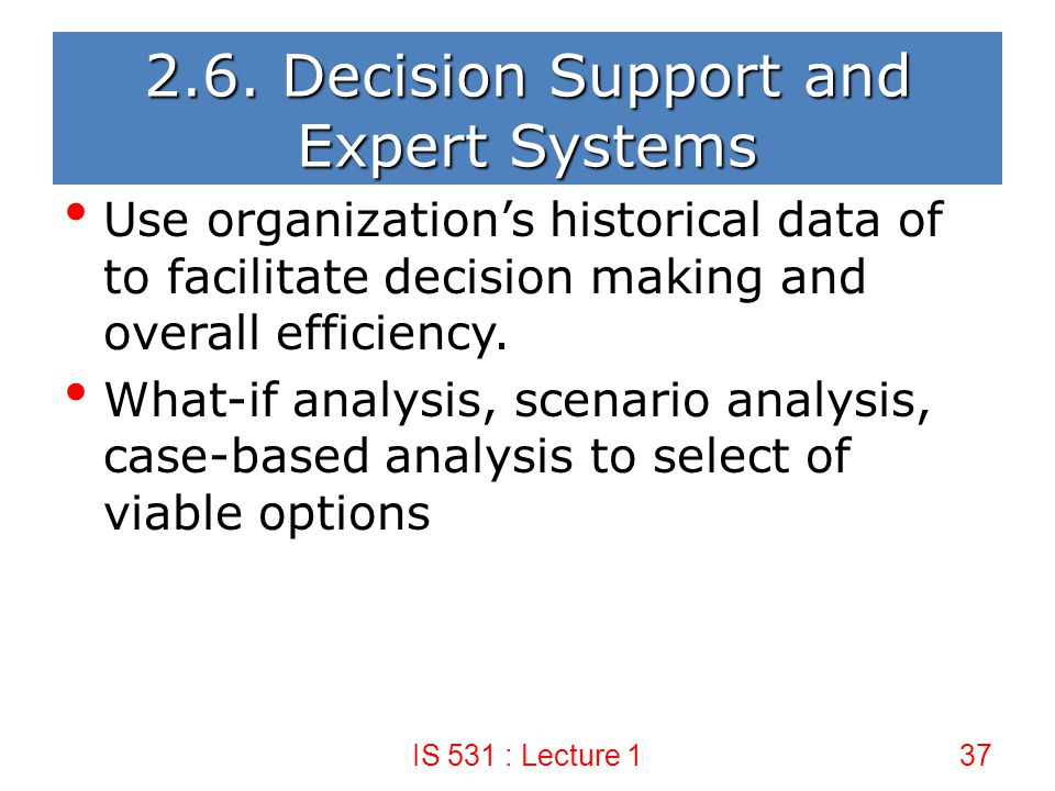 2.6. Decision Support and Expert Systems