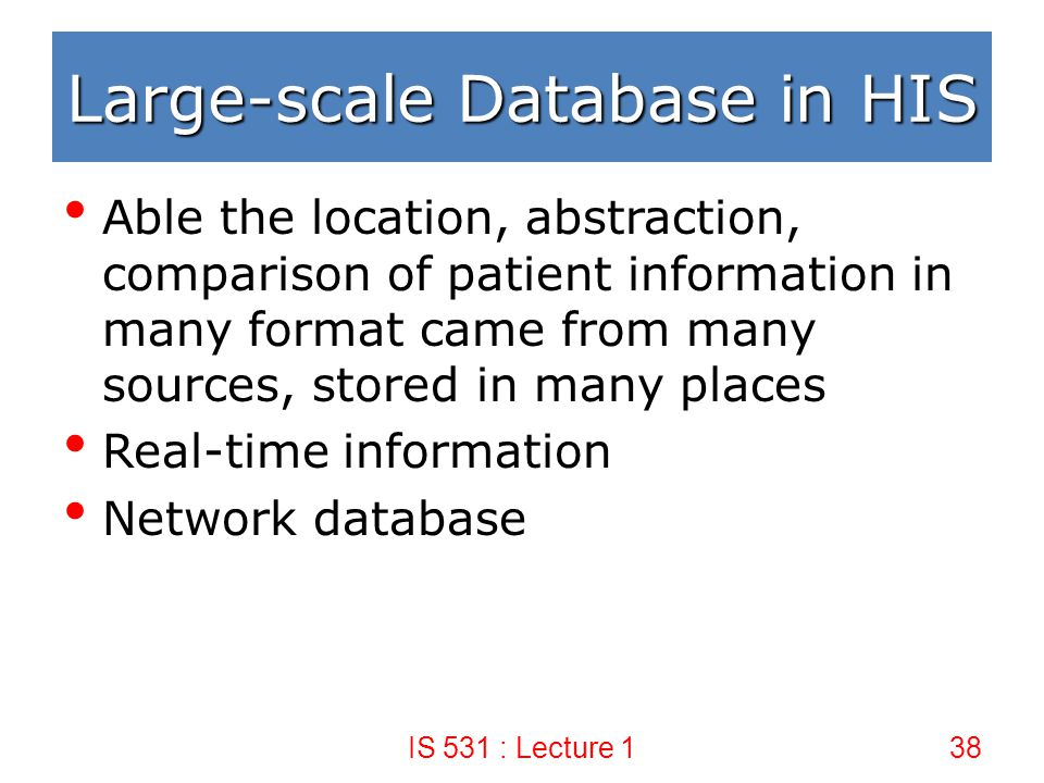 Large-scale Database in HIS