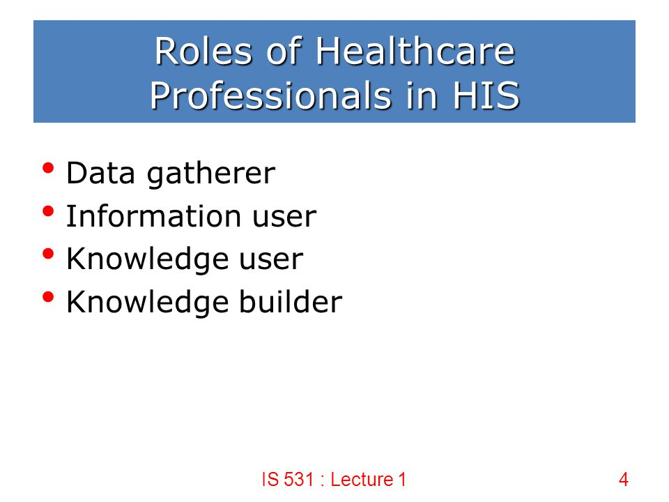 Roles of Healthcare Professionals in HIS