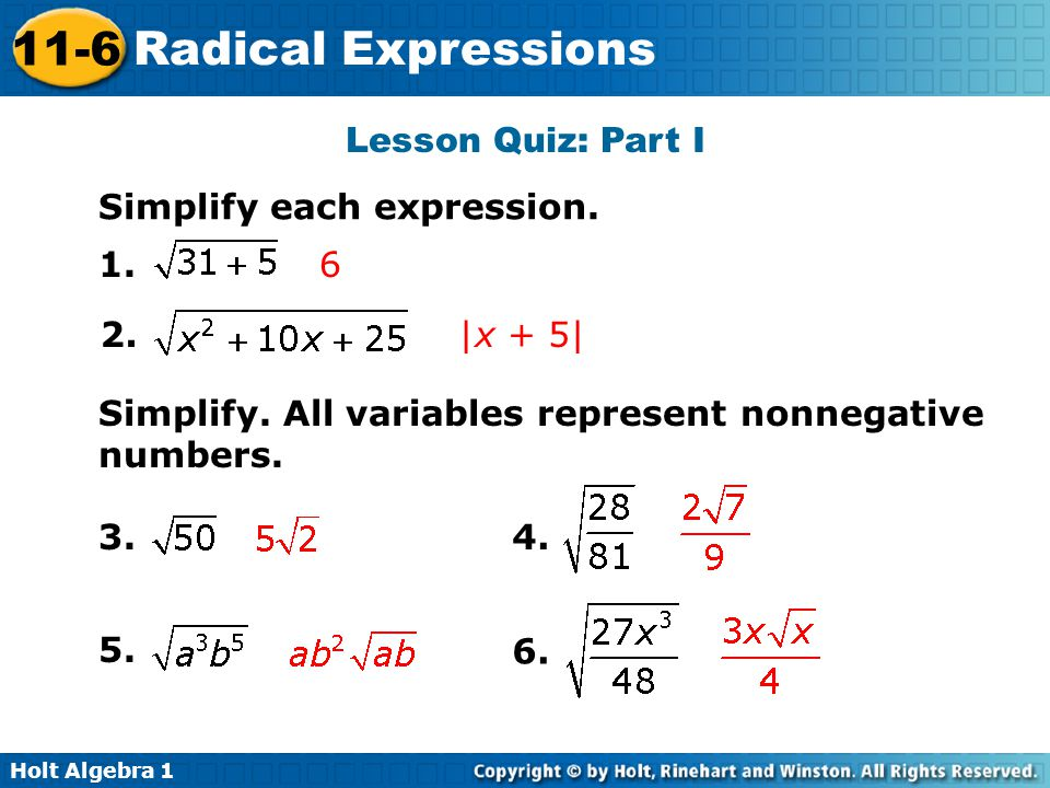 how to break a part radical expressions that are addition