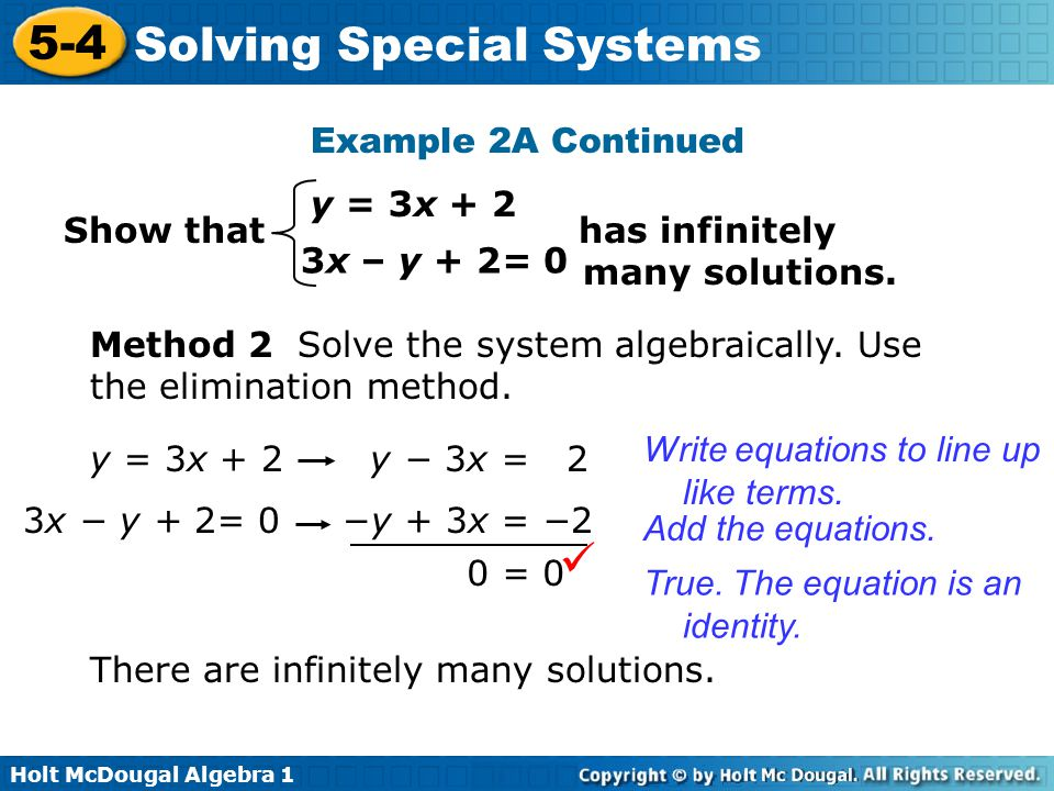  Example 2A Continued y = 3x + 2 Show that has infinitely