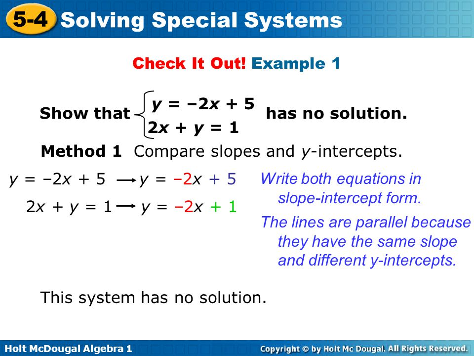 Check It Out! Example 1 Show that has no solution. y = –2x x + y = 1.
