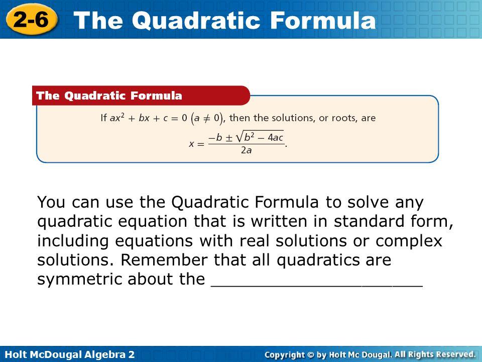 Algebra 2 Quadratic Formula Worksheet Holt holt mcdougal algebra – Quadratic Formula Worksheets