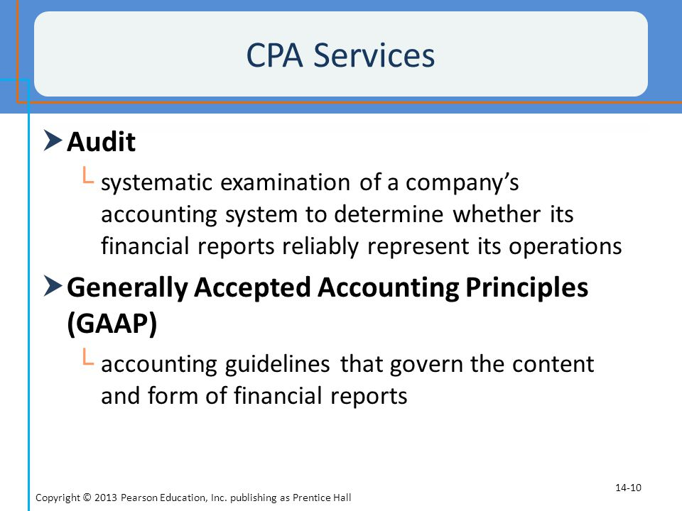 CPA Services Audit Generally Accepted Accounting Principles (GAAP)