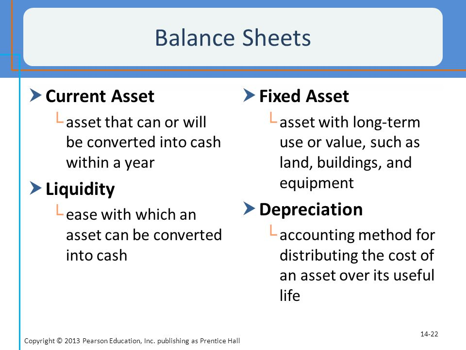 Balance Sheets Current Asset Liquidity Fixed Asset Depreciation