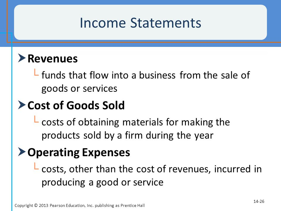 Income Statements Revenues Cost of Goods Sold Operating Expenses