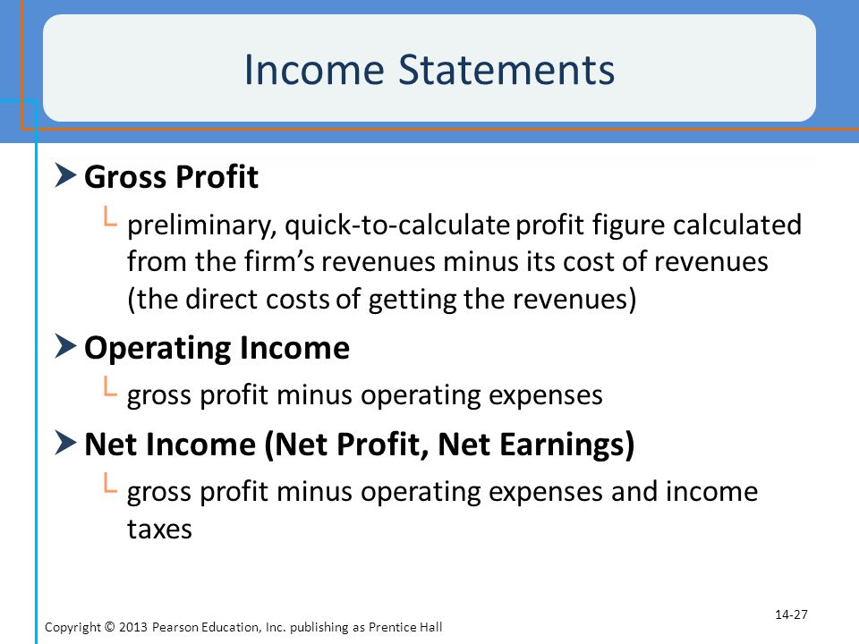 Income Statements Gross Profit Operating Income