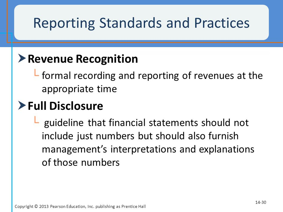 Reporting Standards and Practices