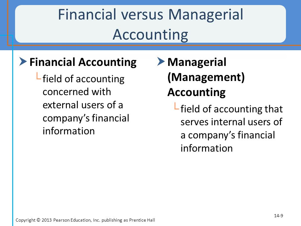 Financial versus Managerial Accounting