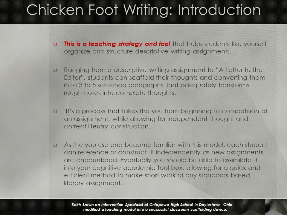 a scaffolding strategy for descriptive writing assignments ppt  chicken foot writing introduction