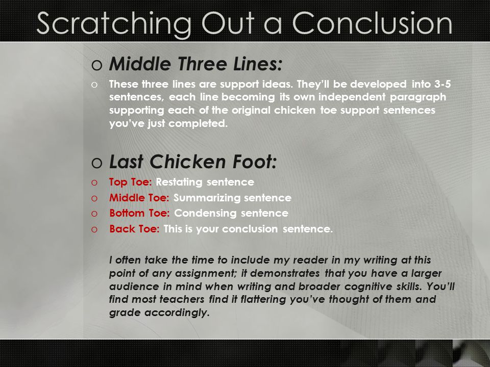 a scaffolding strategy for descriptive writing assignments ppt  scratching out a conclusion