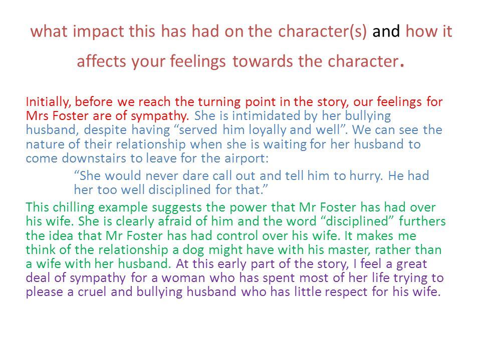 what impact this has had on the character(s) and how it affects your feelings towards the character.