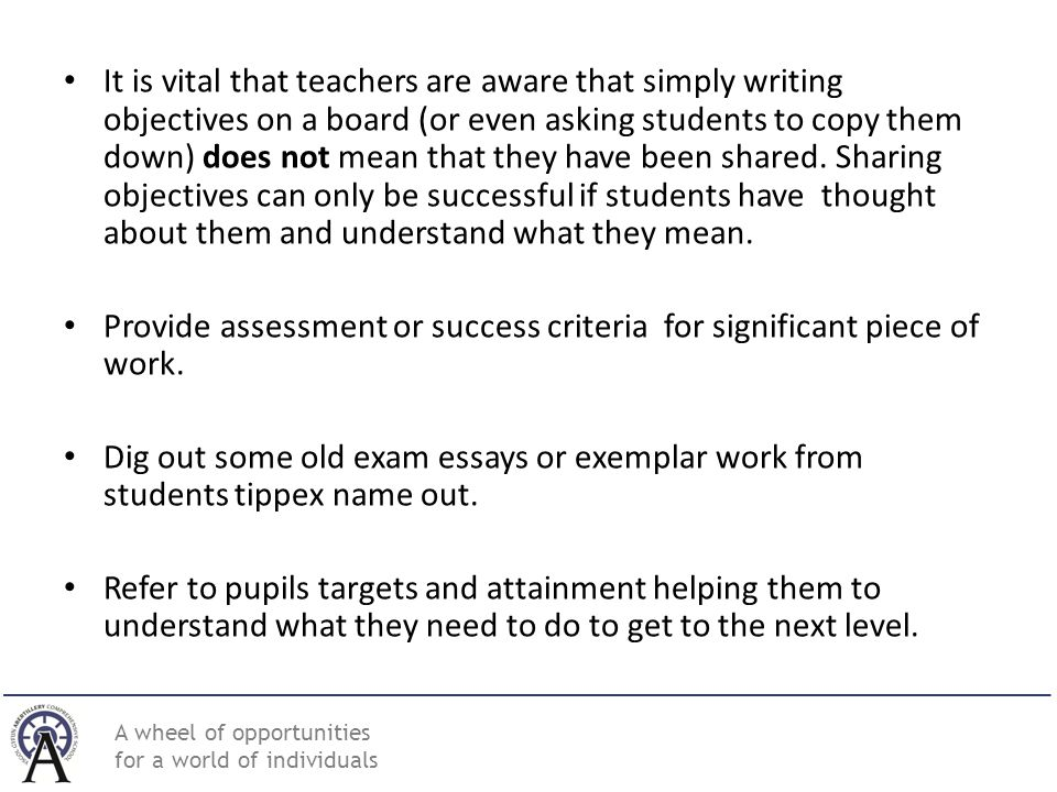 objectives for teachers
