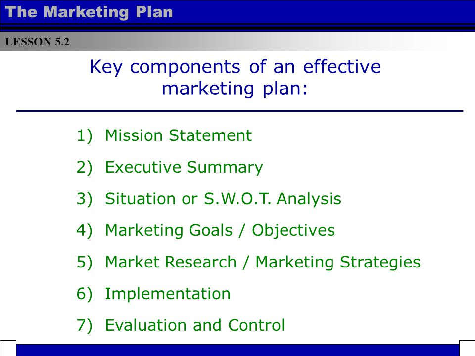 Lesson Components Of An Effective Marketing Plan - Ppt Download