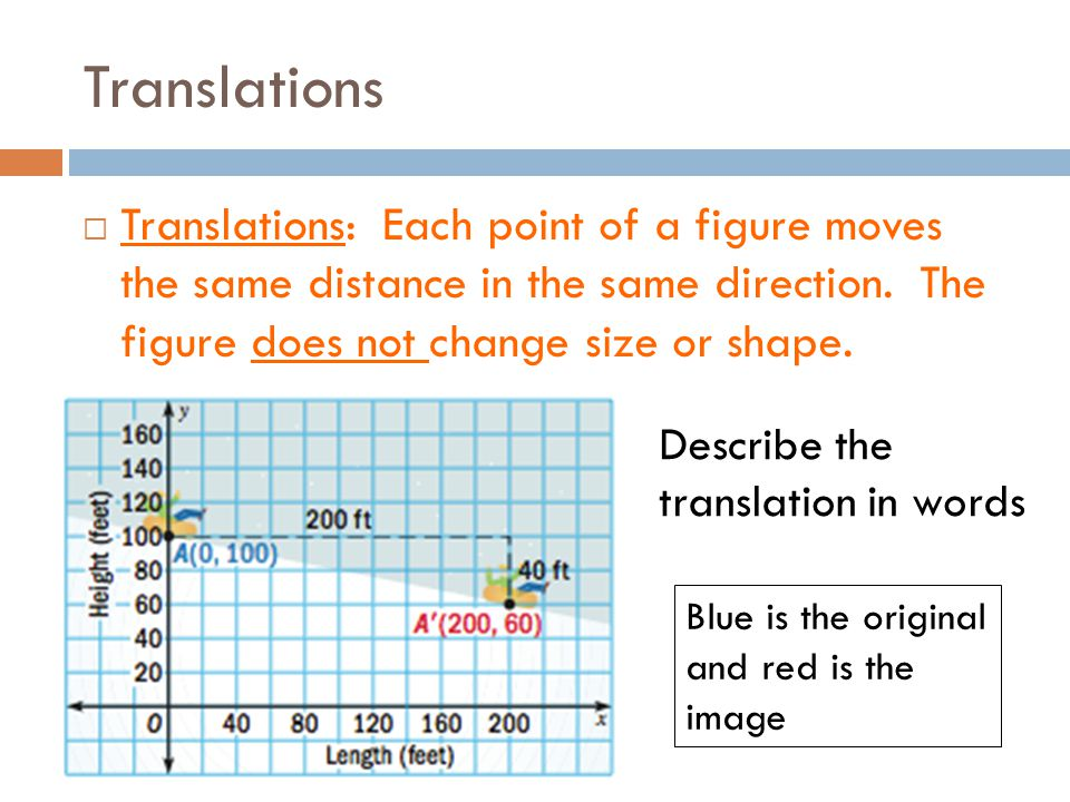 Translations Translations: Each point of a figure moves the same distance in the same direction. The figure does not change size or shape.