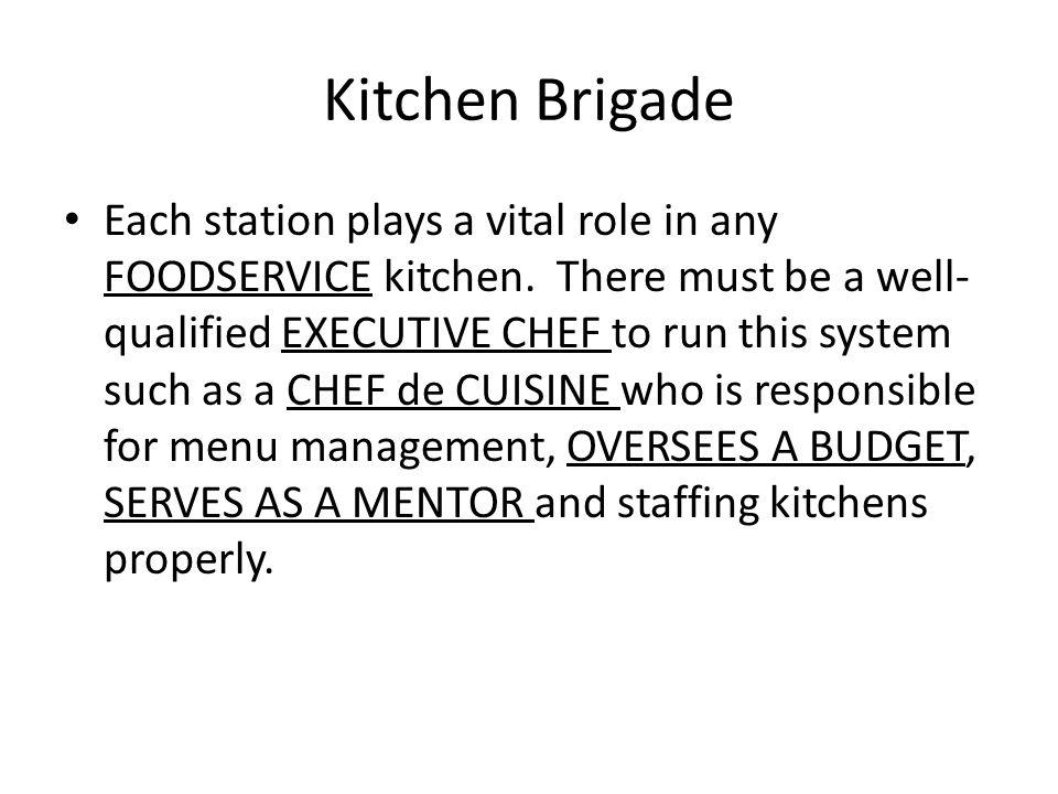 Organization of the modern kitchen ppt video online download - Chef de cuisine definition ...