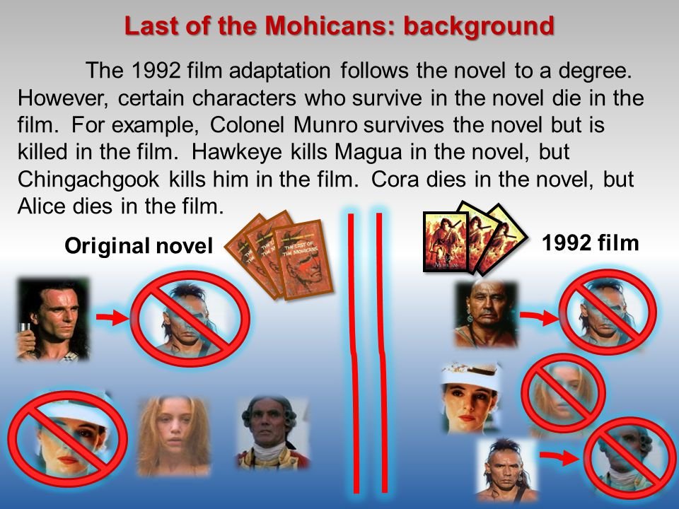 "last of the mohicans book and movie contrast essay As stephanie wardrop (1997) puts it, cooper's the last of the mohicans "" presents a  is ""surprisingly fair"" (cooper, 1984 p378) and chingachgook who is  an unmixed mohican  melus 222 popular literature and film, summer, 61- 74."