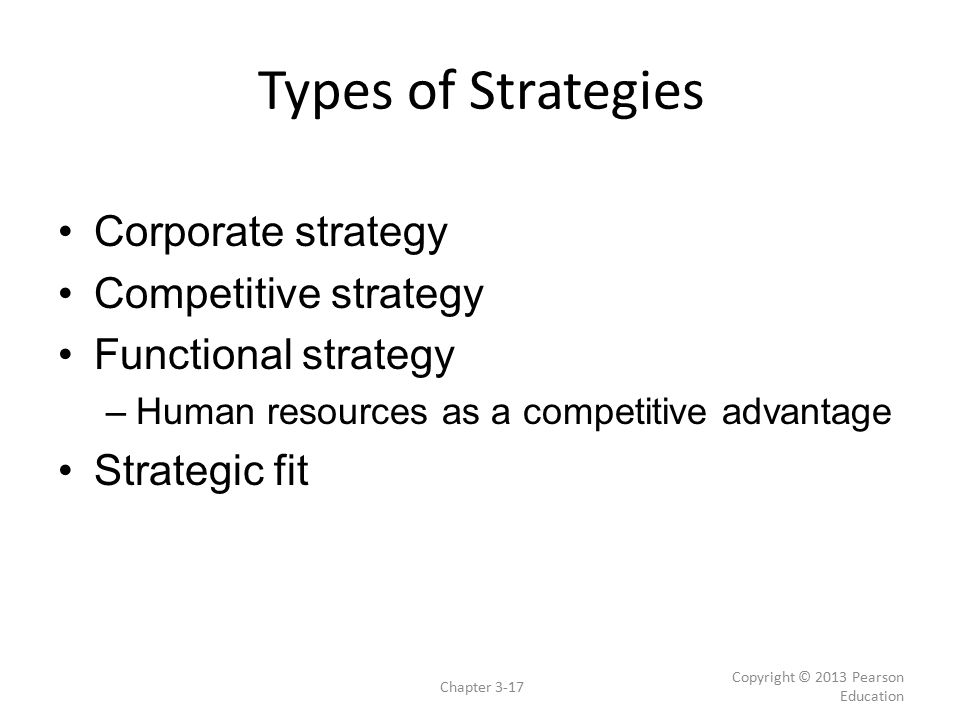 Types of Strategies Corporate strategy Competitive strategy